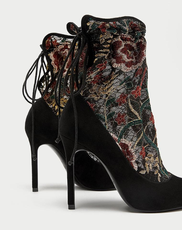 48949969667 Zara Black Floral Embroidered Stocking Style High Heel Court Pumps ...