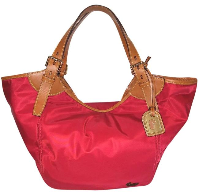 Item - Handbag Extra-large And Red Nylon with Leather Trim Hobo Bag