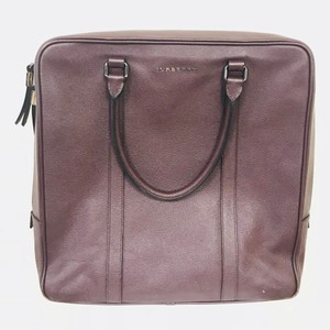 Burberry Grained Leather Tote in Burgundy
