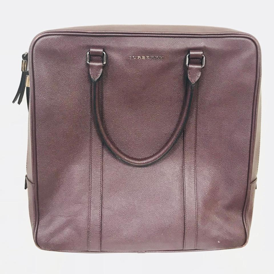 aefeb6644ac1 Burberry Grained Burgundy Pebbled Leather Tote - Tradesy