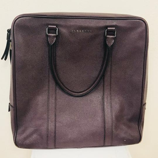 Burberry Grained Leather Tote in Burgundy Image 1
