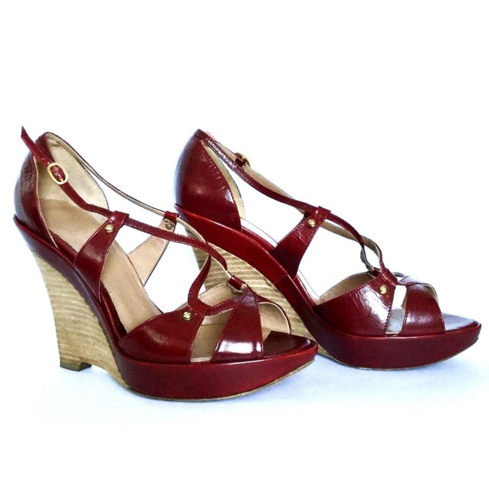e28049af67c Max Mara Red Strappy Wedges Size EU 39 (Approx. US 9) Regular (M