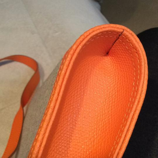 Made I Italy Orange leather and beige linen Clutch Image 10