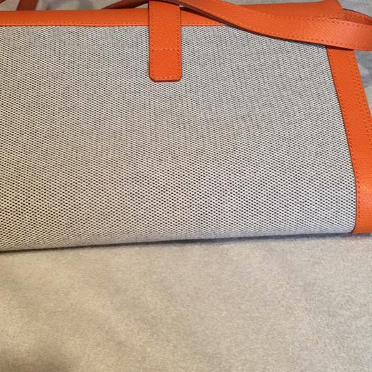 Made I Italy Orange leather and beige linen Clutch Image 3