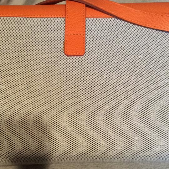 Made I Italy Orange leather and beige linen Clutch Image 4