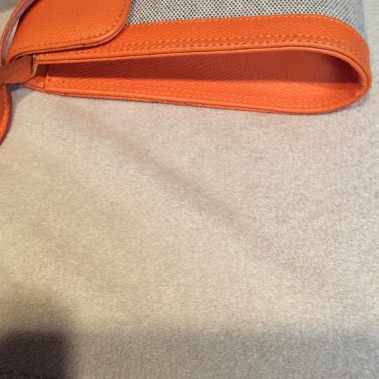 Made I Italy Orange leather and beige linen Clutch Image 5