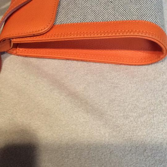 Made I Italy Orange leather and beige linen Clutch Image 6