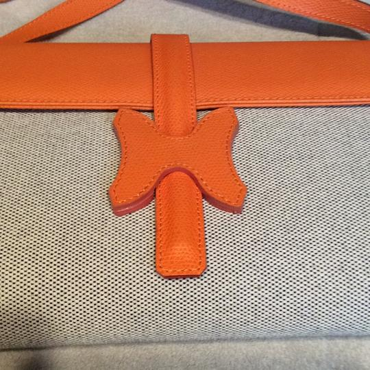 Made I Italy Orange leather and beige linen Clutch Image 7