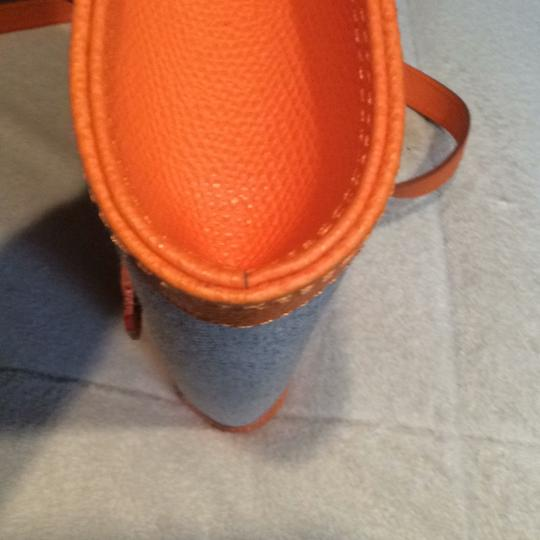 Made I Italy Orange leather and beige linen Clutch Image 8