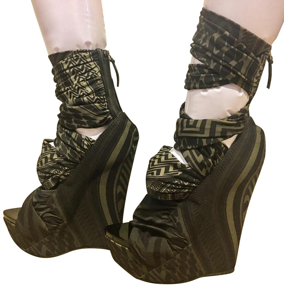 e9ea07546f Givenchy Green and Black Jersey Collection Wedges Size EU 38 (Approx ...