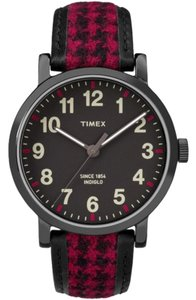 Timex TW2P98900 Originals Women's Black Leather Band With Black Dial Watch
