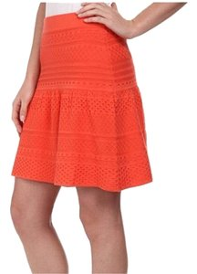 BCBGMAXAZRIA Peplum Knit Mini Skirt orange coral
