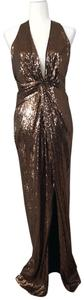 Halston Sequin Gown Metallic Dress