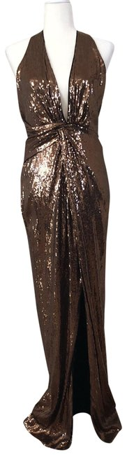 Item - Gold Sleeveless Deep V-neck Metallic Sequin Halter Long Formal Dress Size 8 (M)
