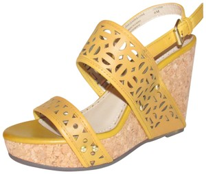 "Adrienne Vittadini High End Boho Look 'countiss' Style 4""+ Heel Geometric Design Yellow golden leather cork wedge with cut-outs and ankle strap Sandals"