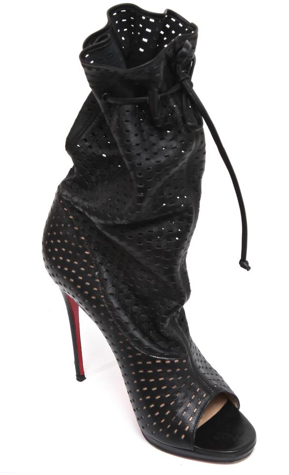 the latest a7c39 3d30b Christian Louboutin Black Leather Jennifer 120 Perforated Boots/Booties  Size EU 38.5 (Approx. US 8.5) Regular (M, B) 63% off retail