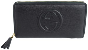 Gucci Gucci 308004 Soho Black Leather Zip Around Wallet Clutch
