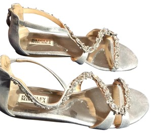 Badgley Mischka Silver and Crystal. Sandals