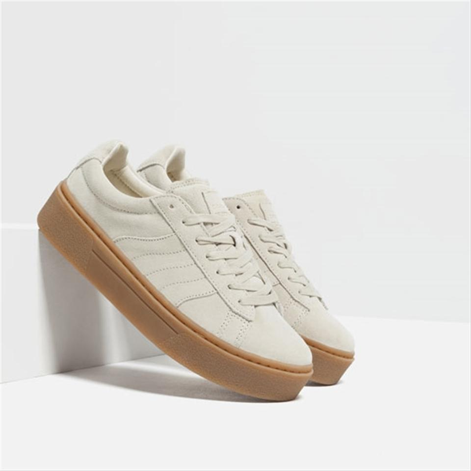 e5d2925a950c Zara Light Ivory Chunky Sole Lace-up Leather Suede Sneakers Size US ...