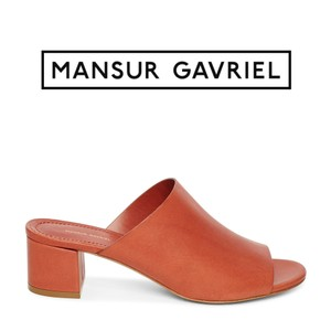 Mansur Gavriel Vegetable Tanned Italian Made In Italy Brandy Brown Mules