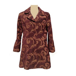 Cato Victorian Jacquard Tapestry Paisley Vintage Trench Coat