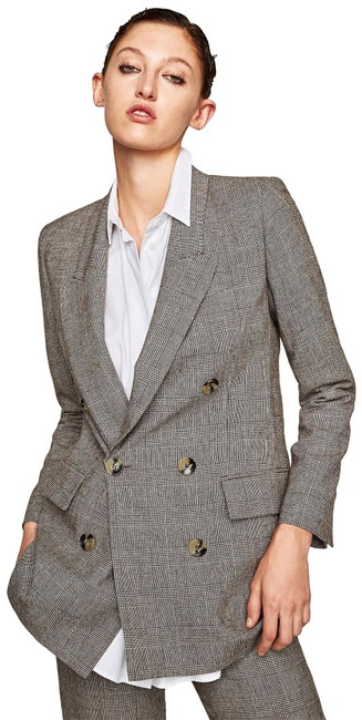 Item - Brown Checked Double-breasted Wool Jacket Size 8 (M)