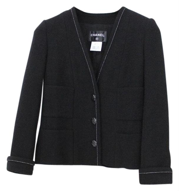 Item - Black & White Wool with Camellia Buttons 40 Jacket Size 6 (S)