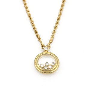 Chopard Happy Diamond 18k YGold 5 Floating Diamond Round Pendant Necklace