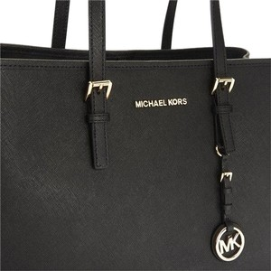 MICHAEL Michael Kors Leather Silver Hardware Tote in Black