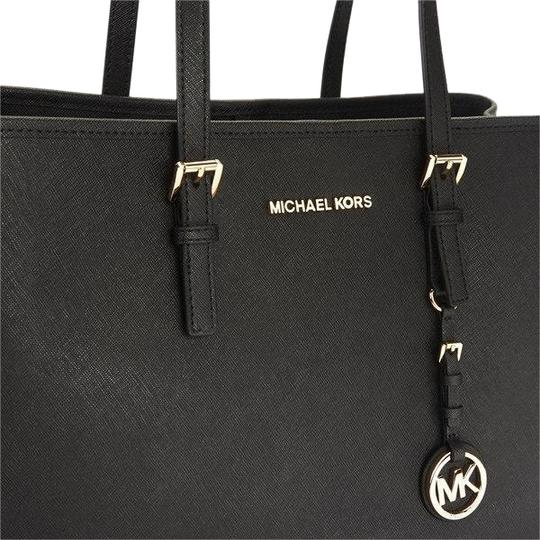 b6a8e230bf45 MICHAEL Michael Kors Leather Silver Hardware Tote in Black Image 0 ...