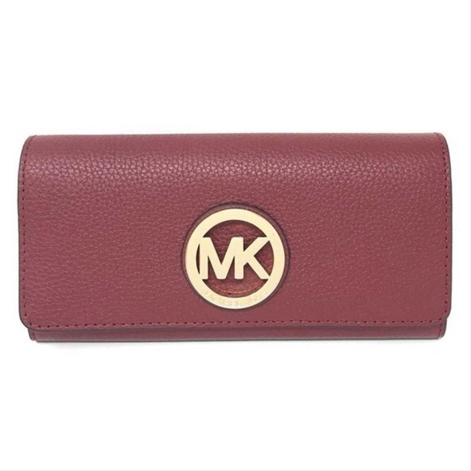 f89c56777c21 Michael Kors Cherry Fulton Flap Continental Pebbled Leather Wallet ...