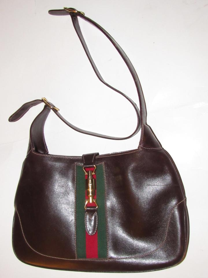 Gucci Jackie Vintage Purses Gucci Purses Dark Brown Leather with Red ... 947dffae768f