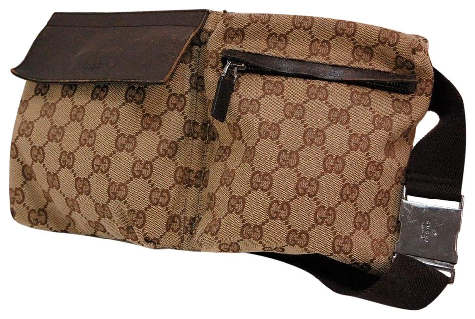 0d7ad163f996 Gucci Brown Leather & Brown Large G Logo Print Canvas Belt Bag ...