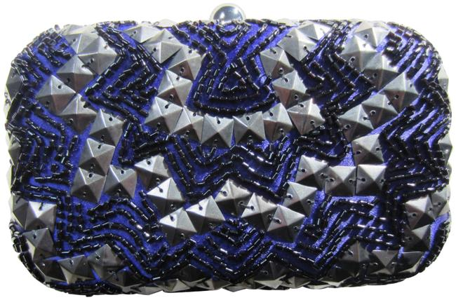 Item - Minaudiere with Embellishments Purple Metal and Fabric Clutch