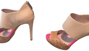 Vince Camuto natural color and hot pink Pumps