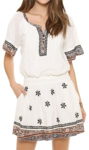 Free People short dress Ivory Embroidered Paisley Print A-line V-neck on Tradesy