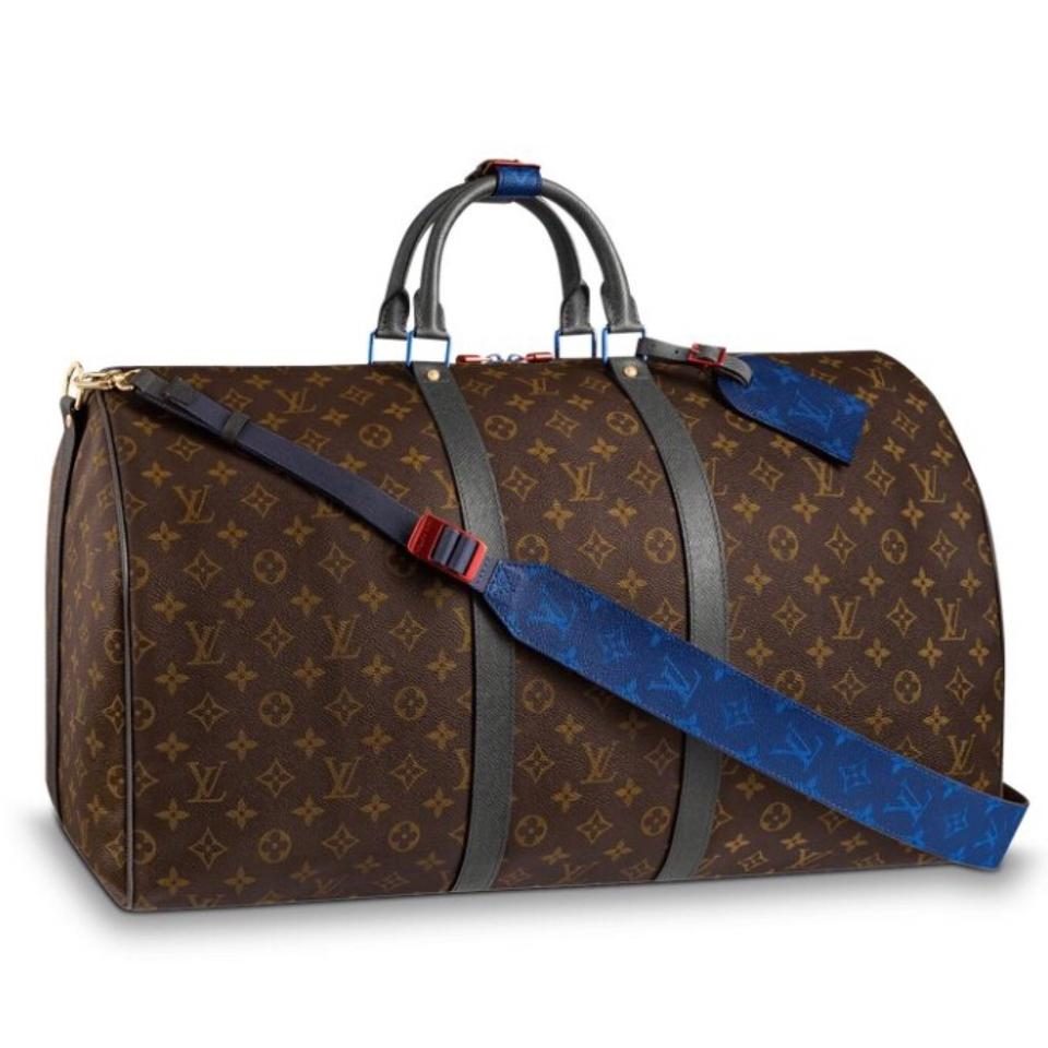 louis vuitton bandouliere kim jones pacific blue outdoor split weekend travel bag tradesy. Black Bedroom Furniture Sets. Home Design Ideas