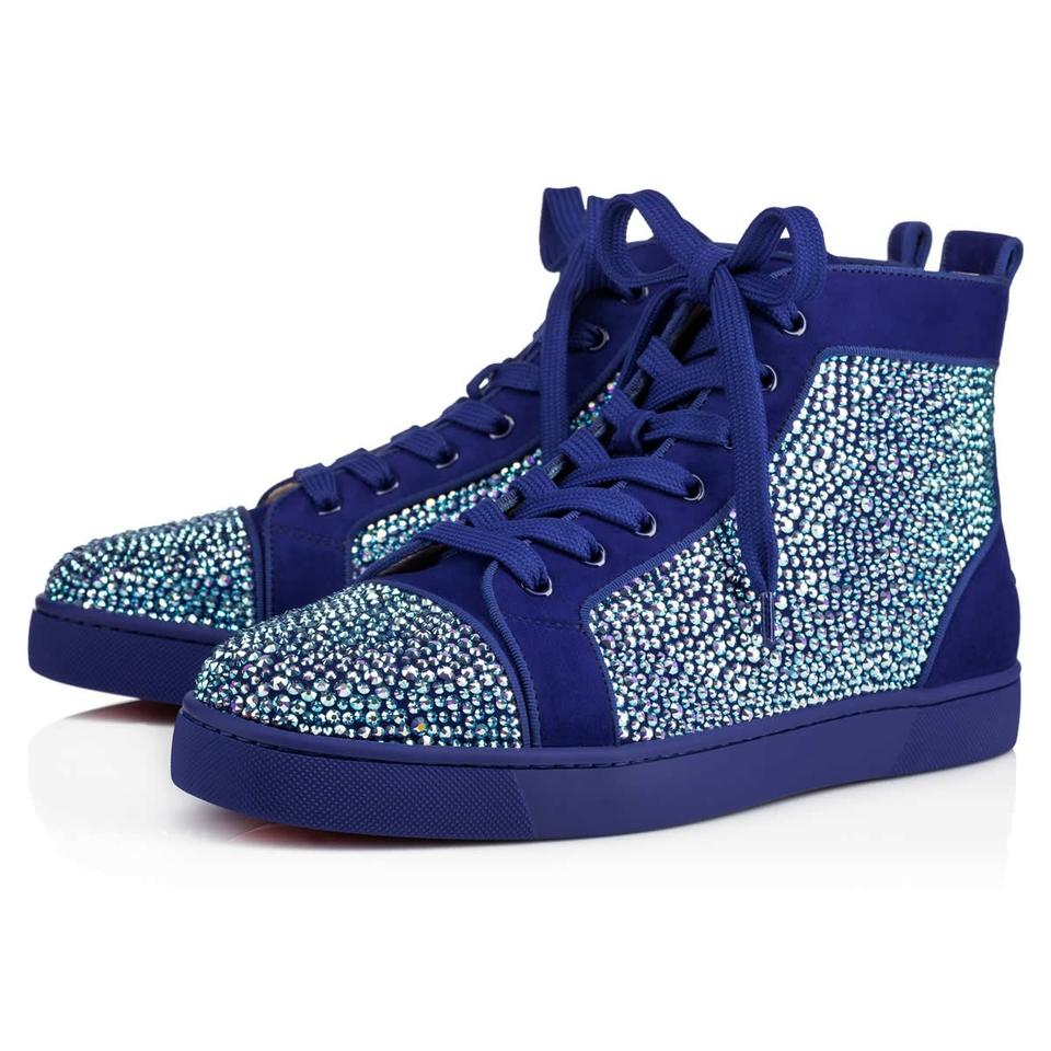 huge selection of 50c8b c74ba Christian Louboutin Blue Louis Flat Atlantic Strass High Trainer Sneakers  Size EU 42 (Approx. US 12) Regular (M, B) 49% off retail