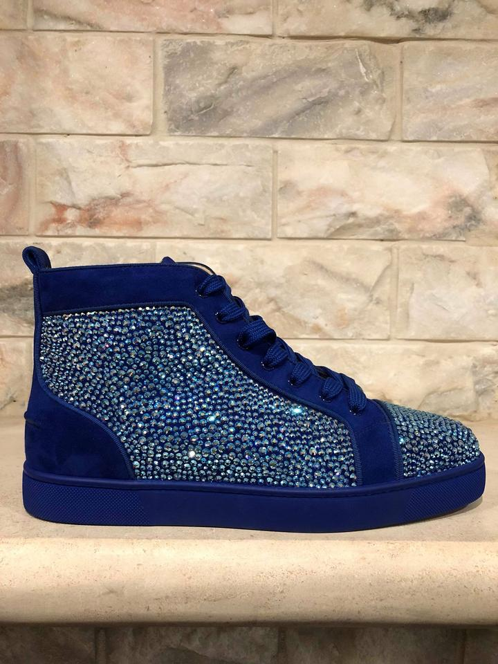 Christian Louboutin Blue Louis Flat Atlantic Strass High Trainer Sneakers Size Eu 42 Approx Us 12 Regular M B 49 Off Retail