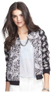 Free People Paisley/Floral Print Snap Button Front Ribbed Trim Two Cotton Blend Multi-Color Jacket