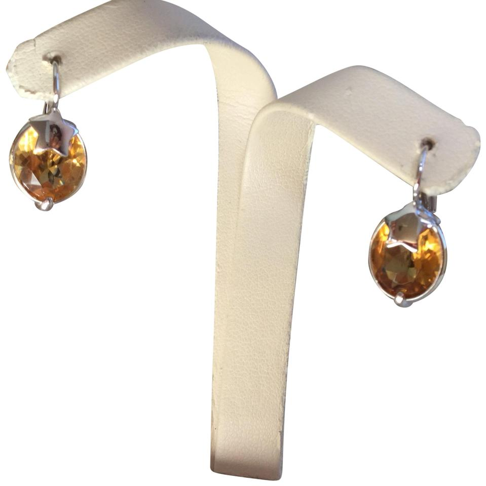 Italian Made 14k White Gold And Citrine Earrings