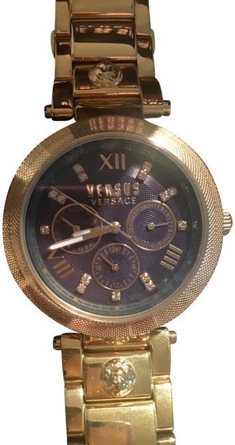 Item - Gold-navy Blue Stainless Steel Watch