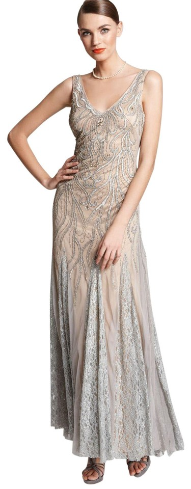 Sue Wong Platinum Gold V-neck Pleated Gown Lace Inserts Formal Dress ...