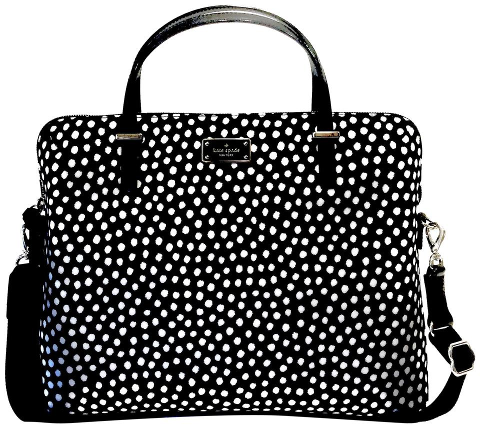 e0d72d036faec Kate Spade Black White Daveney Wilson Road Musical Dots Computer  Black White Nylon Laptop Bag