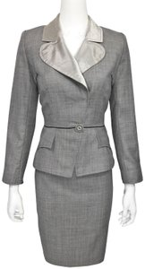 Christian Lacroix Melange L/s Satin Collar Peplum Jacket / Skirt Suit
