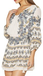 Free People short dress Ivory Longsleeve Floral Print Tie Tassels on Tradesy