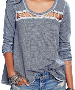 Free People Longsleeve Cut-out Striped Print Oversized Top Indigo