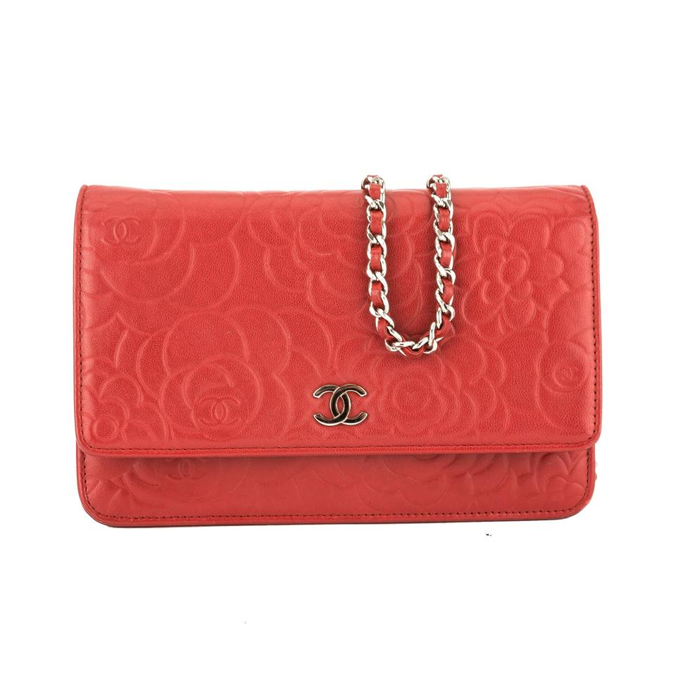 f065e286dc47 Chanel Wallet on Chain Leather Camellia Woc Pre Owned Red Lambskin ...