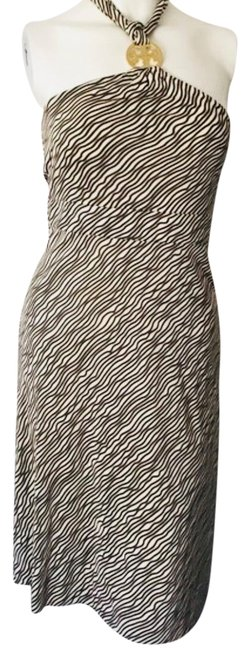 Item - Brown and Beige Zebra Mid-length Cocktail Dress Size 8 (M)