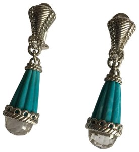 314fb6dd9 Judith Ripka Sterling, Carved Turquoise & CZ Drop Earrings